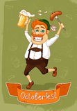 Oktoberfest poster. Of burger with sausage and beer vector illustration Royalty Free Stock Photos