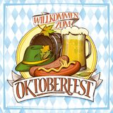 Oktoberfest poster design with glass of beer. Sausages, barrel and festive hat Royalty Free Stock Photography