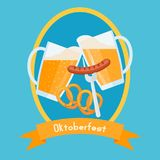 Oktoberfest poster design template. Clinking beer glasses with foam, pretzels and sausage. Royalty Free Stock Photography