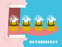 Oktoberfest poster. Drinking many mug of beer. Man drinks alcoho Royalty Free Stock Image
