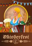 Oktoberfest poster with german cute girl. Poster for Oktoberfest. Beer festival design. German blonde cute girl waitress in traditional clothes holding beer mugs Royalty Free Stock Photos