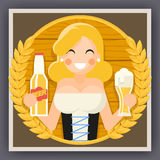 Oktoberfest Poster Girl With Beer Festival Celebration Symbol Flat Design Vector Illustration. Oktoberfest Poster Girl Beer Festival Celebration Symbol Flat Stock Photos