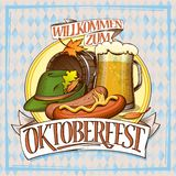 Oktoberfest poster with glass of beer, sausages, barrel and festive hat Stock Illustration