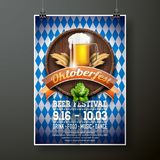 Oktoberfest poster vector illustration with fresh lager beer on blue white flag background. Celebration flyer template for traditi Stock Image
