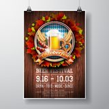 Oktoberfest poster vector illustration with fresh lager beer on wood texture background. Celebration flyer template for traditiona stock illustration