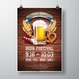 Oktoberfest poster vector illustration with fresh lager beer on wood texture background. Celebration flyer template for traditiona Royalty Free Stock Photos