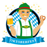 Oktoberfest Pretzel Beer Man Stock Photo