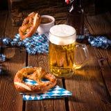 Oktoberfest pretzel and beer Royalty Free Stock Image