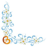 Oktoberfest, pretzel, flowers. Colorful oktoberfest tendril, with flowers and pretzel Royalty Free Stock Photos