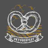 Oktoberfest pretzel. Happy oktoberfest. Black vintage engraved hand drawn vector. Illustration. Sketch Wooden cylindrical container for liquid. White isolated Stock Image