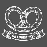 Oktoberfest pretzel. Happy oktoberfest. Black vintage engraved hand drawn vector. Illustration. Sketch Wooden cylindrical container for liquid. White isolated Stock Photo