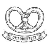 Oktoberfest pretzel. Happy oktoberfest. Black vintage engraved hand drawn vector. Illustration. Sketch Wooden cylindrical container for liquid. Black isolated Stock Photos