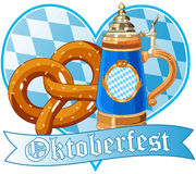 Oktoberfest pretzel and mug Royalty Free Stock Image