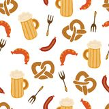 Oktoberfest pretzels beer sausage fork seamless vector illustration pattern. Blue and white checkered background. Perfect for stock illustration