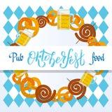 Oktoberfest 2018 Pub food frame vector flat illustration. Beer, meat, fast food, mug, snack, pretzel, sausage on white blue vector illustration