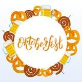 Oktoberfest 2018 Pub food frame vector illustration. Beer, meat, mug, snack, pretzel, sausage. Food set for pub design top view. stock illustration