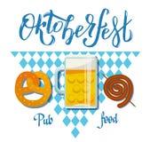 Oktoberfest 2018 Pub food set vector flat illustration with lettering. Beer, fast food, mug, snack, pretzel, sausage on white blue royalty free illustration