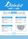 Oktoberfest pub menu template minimalist style with beer mugs, pretzels and tradition pattern. Oktoberfest pub menu template in a modern minimalist style with stock illustration