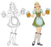 Oktoberfest - ragazza con birra Immagini Stock Libere da Diritti