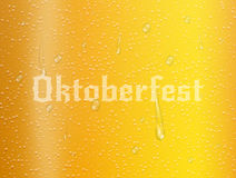 Oktoberfest. Realistic beer background with bubbles, water drops and typography. Oktoberfest illustration.  vector illustration