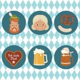 Oktoberfest related icons. Oktoberfest icons. Bavarian man, woman, cookie heart, beer, pretzel and bratwurst on Bavarian flag background. Vector art Stock Photo