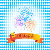 Oktoberfest. Fireworks and Ribbon banner greeting card. Octoberfest party invitation.  Fireworks and ribbon banner with beer mug on blue Bavarian flag pattern Royalty Free Stock Image