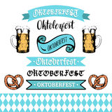 Oktoberfest ribbons and lettering collection for beer festival flyer.Vector hand sketched set of glass mugs and pretzels Royalty Free Stock Images