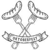 Oktoberfest sausage on fork. Happy oktoberfest. Black meat food vintage engraved. Hand drawn vector illustration. Black isolated on white background Royalty Free Stock Images