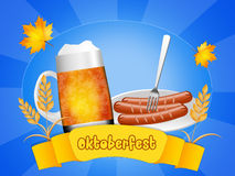 Oktoberfest sausages and beer Stock Photo