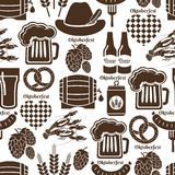 Oktoberfest seamless background pattern. In black and white depicting German beer in bottles  can  tankard  glass  keg or cask  barrel  hops  barley  heart Stock Image