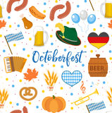 Oktoberfest seamless pattern. October fest in germany endless background. Repeating texture with beer, sausages and. Traditional symbols. Vector illustration Royalty Free Stock Photo
