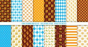 Oktoberfest seamless pattern. Octoberfest traditional textures. Vector illustration