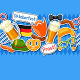 Oktoberfest seamless pattern with photo booth stickers. Background for festival and party.  Stock Image