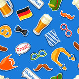 Oktoberfest seamless pattern with photo booth stickers. Background for festival and party.  Royalty Free Stock Photography