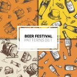 Oktoberfest Seamless Pattern Set German Beer Festival Holiday Decoration Design. Flat Vector Illustration Royalty Free Stock Photos
