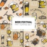 Oktoberfest Seamless Pattern Set German Beer Festival Holiday Decoration Design. Flat Vector Illustration Stock Images