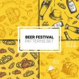 Oktoberfest Seamless Pattern Set German Beer Festival Holiday Decoration Design. Flat Vector Illustration Stock Image