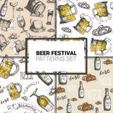 Oktoberfest Seamless Pattern Set German Beer Festival Holiday Decoration Design. Flat Vector Illustration Stock Photography
