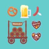 Oktoberfest. Set attributes. Foamy beer, snacks, traditional sweets. Stand with beer barrels. German beer festival Stock Photo