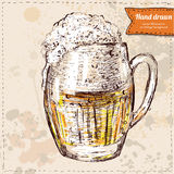 Oktoberfest set of beer, hops and pretzel. Hand drawn illustrations Royalty Free Stock Photo