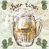 Oktoberfest set of beer, hops and pretzel. Hand drawn illustrations Royalty Free Stock Photos