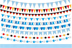 Oktoberfest set of flags, bunting, garland. October fest in germany collection of design elements.  on white Royalty Free Stock Photo