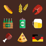 Oktoberfest set icons vector illustration. Royalty Free Stock Images