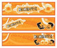 Oktoberfest. Set of three vector banners for Oktoberfest. Oktoberfest Celebration postcard, poster, background, ornament or party invitation. Author's Stock Photo