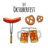 Oktoberfest Set Vektorillustration von oktoberfest Attributen Kneipenmenü Stockfotografie