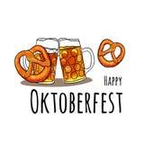 Oktoberfest Set Vektorillustration von oktoberfest Attributen Kneipenmenü Stockbild