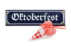 Oktoberfest sign with heart. On white isolated background stock images