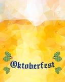 Oktoberfest sign. Hop buds. Vector illustration. Low poly. Stock Photography