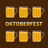 Oktoberfest Six beer glass mug with foam cap froth bubble. Flat design Royalty Free Stock Photo