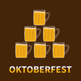 Oktoberfest Six beer glass mug pyramid. Flat design brown backgound Stock Photo